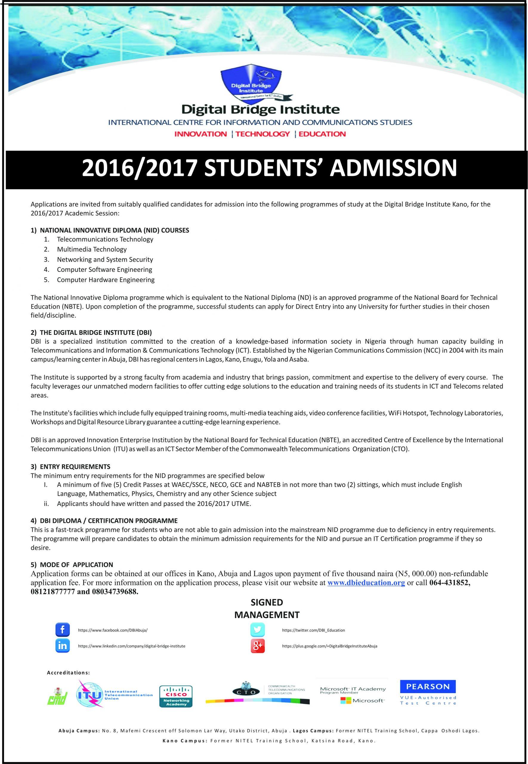 2016/2017 Students' Admission