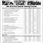 DBI 2019 First Quarter Training Courses
